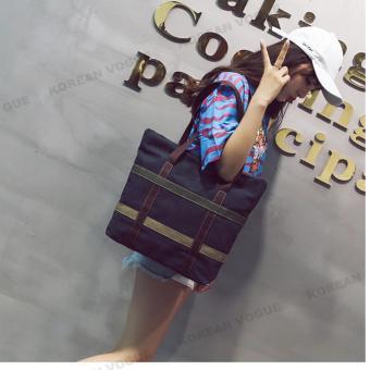 Korean Style B-003 High Quality Canvas Fashion Grid Women LargeCapacity Shopping Tote Bag Student Shoulder Bag(Black) - 4