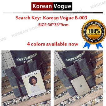 Korean Style B-003 High Quality Canvas Fashion Grid Women LargeCapacity Shopping Tote Bag Student Shoulder Bag(Black) - 3