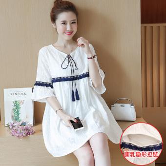 Korean-style Bell sleeve pregnant women's slimming Top dress (853 nursing Models) Price