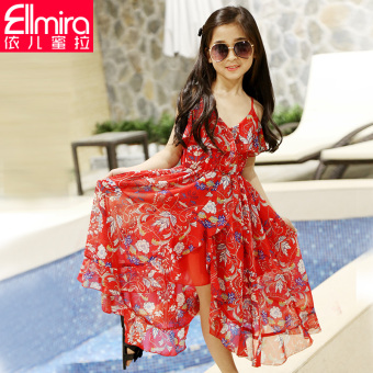 Korean-style big kid girl's skirt girls dress (Red) (Red)