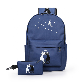 Korean-style campus young student's backpack junior high school students school bag (Navy Blue)