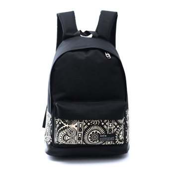 Korean-style canvas junior high school student school bag women's bag (Black and white)
