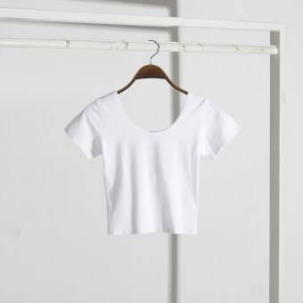 Korean-style cotton female lo Shi bottoming shirt T-shirt (White)