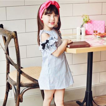 Korean-style Cotton Short sleeved off-the-shoulder children skirt dress (Blue)