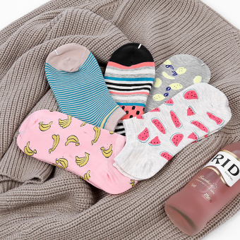 Korean-style cotton spring and summer hidden men's and women's socks no-show socks (Women's fruit)