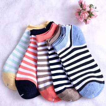 Korean-style cotton spring and summer hidden men's and women's socks no-show socks (Women's multi-color striped)