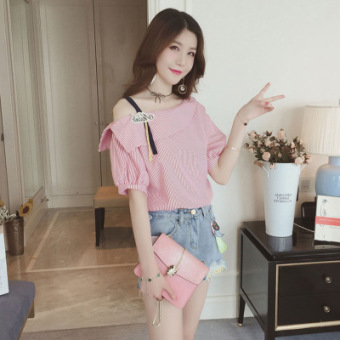 Korean-style cotton student Short sleeve Top loose short-sleeved t-shirt (Pink)