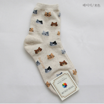 Korean-style cotton tube autumn short socks (Beige)