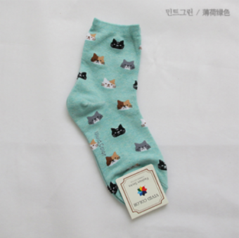 Korean-style cotton tube autumn short socks (Mint green)