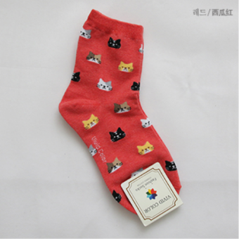 Korean-style cotton tube autumn short socks (Watermelon Red)