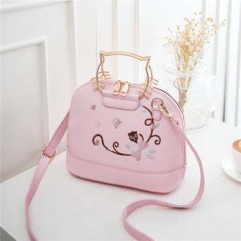 Korean-style embroidered flowers cat handbag women's bag (Pink)