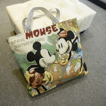 Korean-style embroidered shoulder large bag handbag (Mickey Mouse)