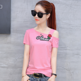 Korean-style embroidery female short-sleeved Slimming effect Top T-shirt (Pink color)