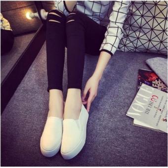 Korean Style Fashion Women Slip On Loafers - White - 3
