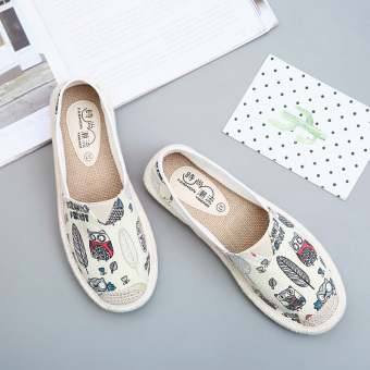 Korean-style female fisherman shoes wild canvas shoes (Beige)