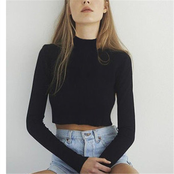 Korean-style female long-sleeved cotton bare midriff Top high collar bottoming shirt (Black) (Black)