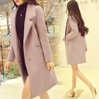 Korean-style female mid-length New style woolen coat (Gray)