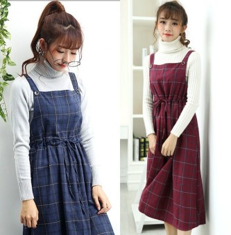 Korean-style female mid-length shoulder strap skirt expandable Dungaree dress (Wine red color) (Wine red color)