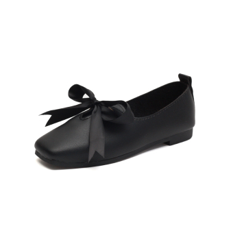 Korean-style female New style Cooljie comfortable women's shoes shallow mouth shoes (Black)