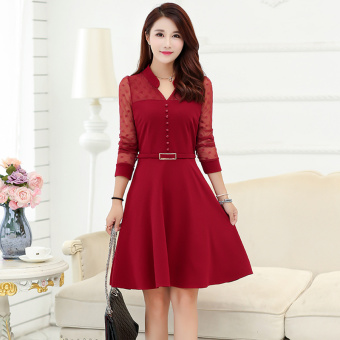Korean-style female New style Plus-sized A-line dress summer dress (Red)