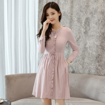 Korean-style lace collar Slimming effect long paragraph skirt dress (Rose Gray)