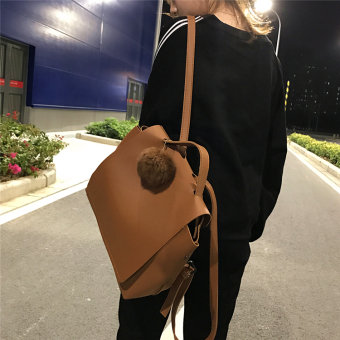 Korean-style large capacity backpack minimalist shoulder bag (Light brown to send hair ball)