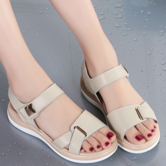 Korean-style leather female flat heel student women's shoes flat sandals (Beige)
