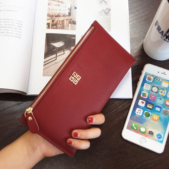 Korean-style leather New style women's zip wallet (Wine red color)