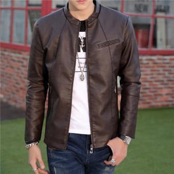 Korean-style Leather Slim fit type jacket men's leather (03 coffee color single in)
