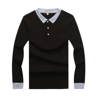Korean-style men base long-sleeved polo shirt T-shirt (Black C489)