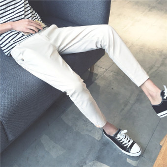Korean-style men Slim fit skinny ankle-length pants casual pants (Off-white color)