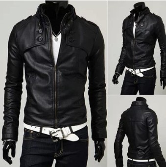 Korean-style men Slim fit stand-up collar leather jacket Leather (Deep coffee color (high quality leather))