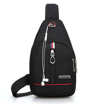 Korean-style men's chest bag chest pack (Black)