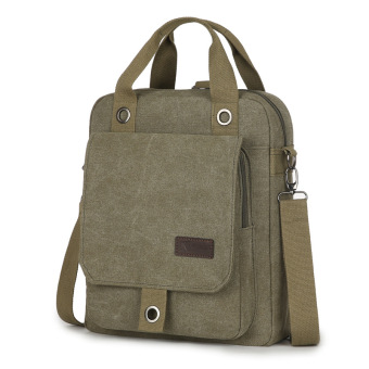 Korean-style men's handbag canvas shoulder bag (Dark green color) (Dark green color)