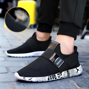 Best Buy Korean style mesh shoes men shoes (Black White 1521