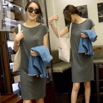 Korean-style modal long section New style bottoming skirt dress (Blue)