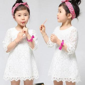 Korean-style New style children's skirt white lace dress