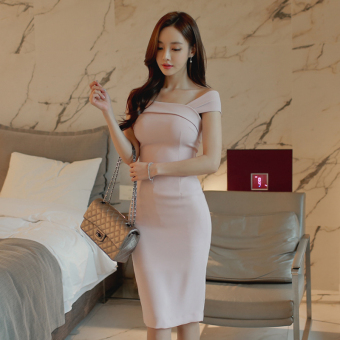 Korean-style New style horizontal neck off-the-shoulder dress