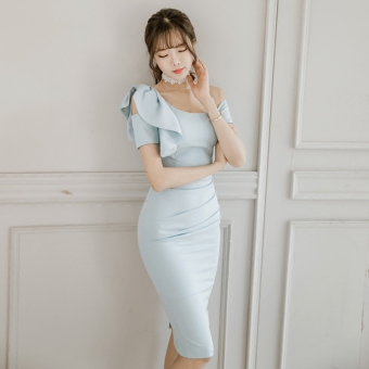 Korean-style New style oblique Slim fit dress