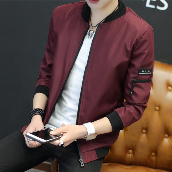 Korean-style New style Slim fit spring jacket men's jacket (Wine red color)