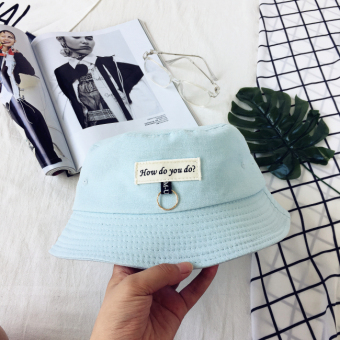 Korean-style patch lettered bucket hat (Light blue)