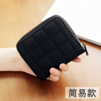 Korean-style plaid small wallet (Black)