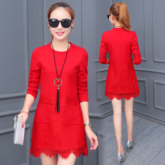 Korean-style Plus velvet on the female warm bottoming shirt loose long-sleeved t-shirt (Red [006 spring thin])