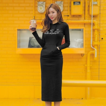 Korean-style Plus velvet thick long-sleeved base skirt Qiudong dress (Black regular models)