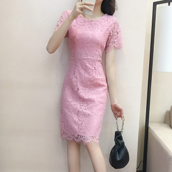 Korean-style red female New style dress summer dress (Pink color)