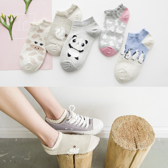 Korean-style silicone hidden spring and summer socks women's socks (5 double loaded down yarn Bear)