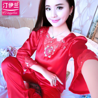 Korean-style silk female summer sexy tracksuit pajamas (851-red)