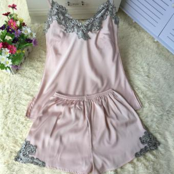 Korean-style silk female summer tracksuit pajamas (Lolita Powder)