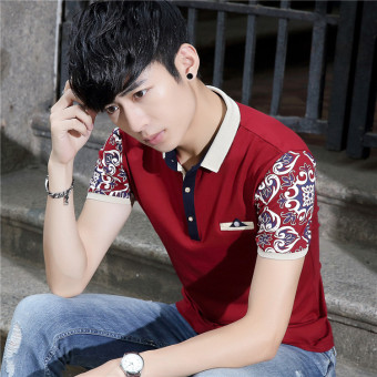 Korean-style Slim fit business Fold-down collar bottoming shirt T-shirt (Red)