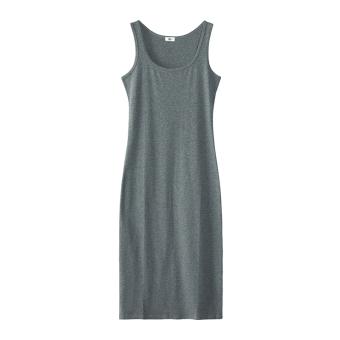 Korean-style Slim fit Slimming effect long section bottoming skirt dress (Dark gray color)
